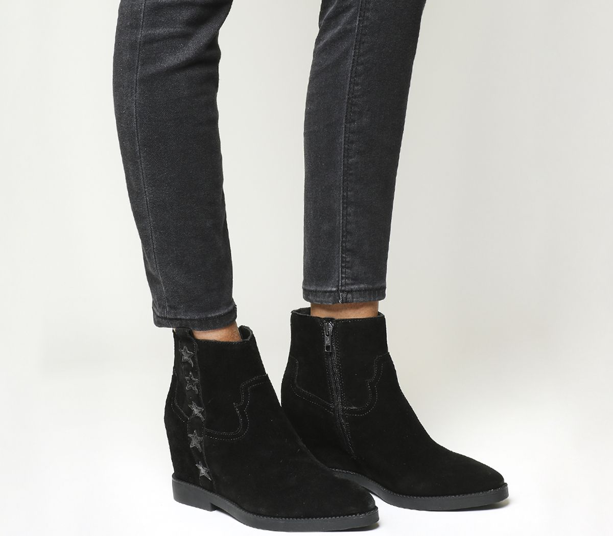 67ab6c3584f Ash Goldie Wedge Boots Black Suede - Ankle Boots