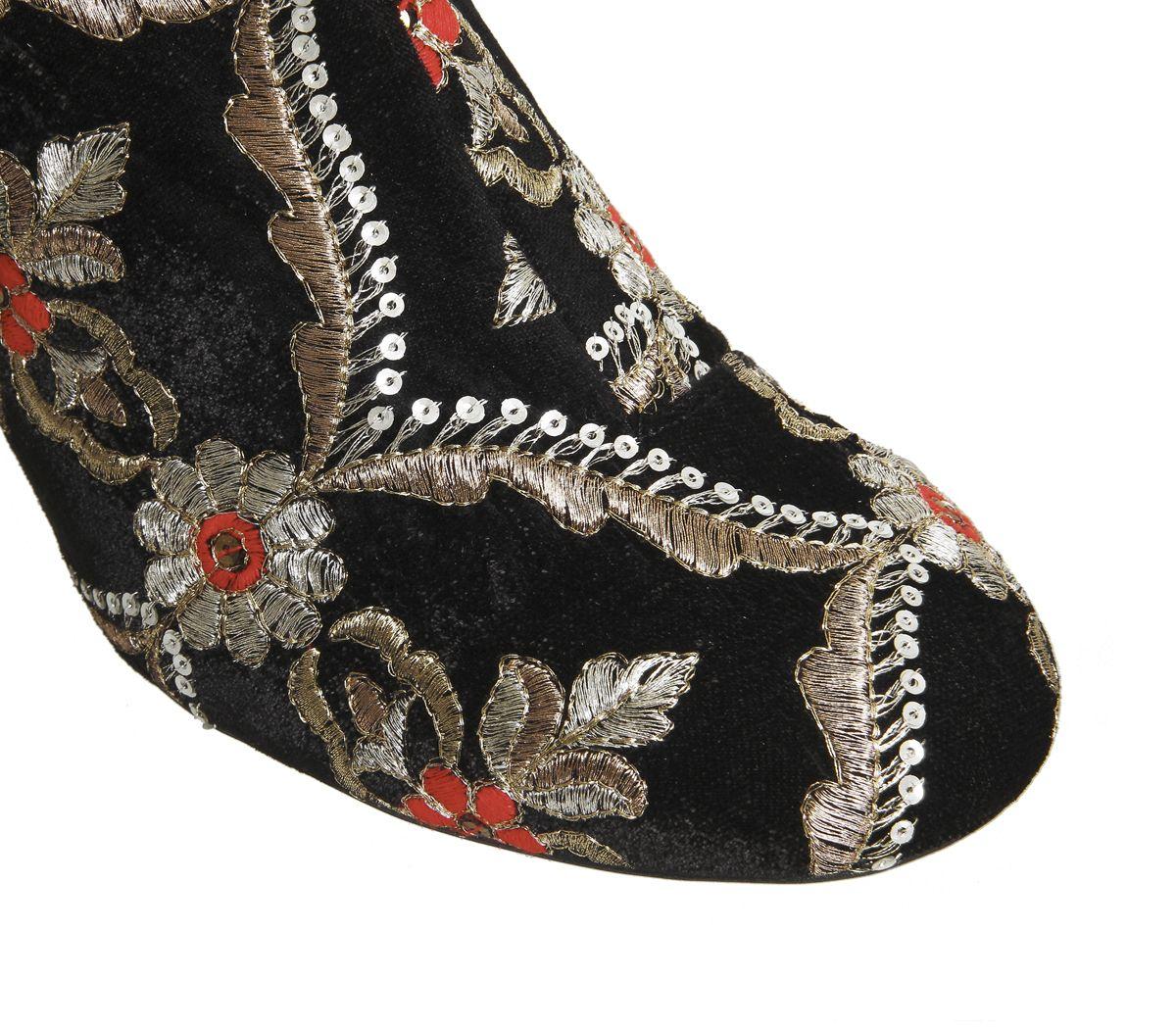office applause block heel boots black velvet brocade