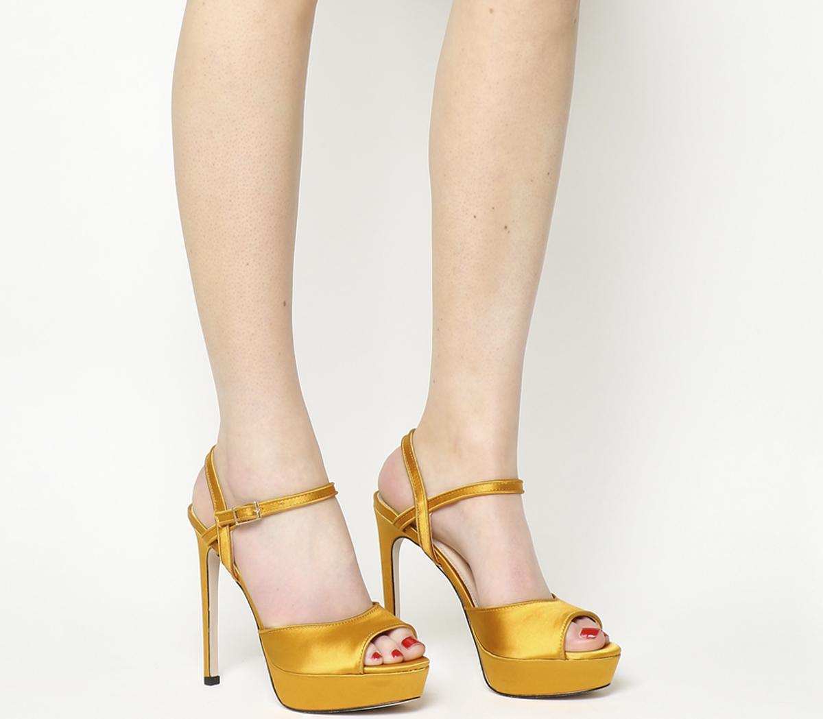 dab09ab0972 Office Hoop Platform Heels Mustard Yellow Satin - High Heels