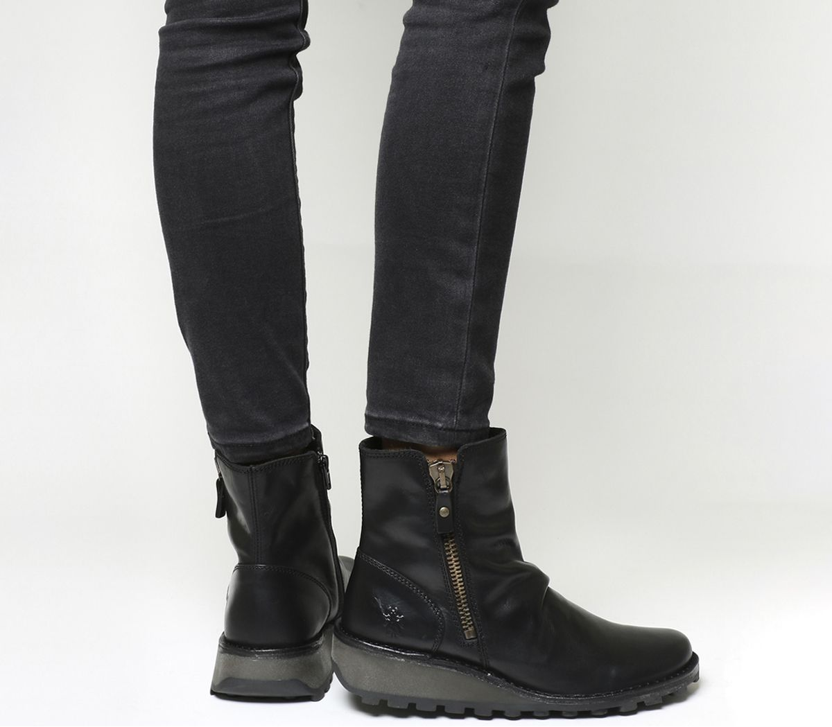 3eba1e8d7d Fly London Mon Zip Boots Black Rug - Ankle Boots