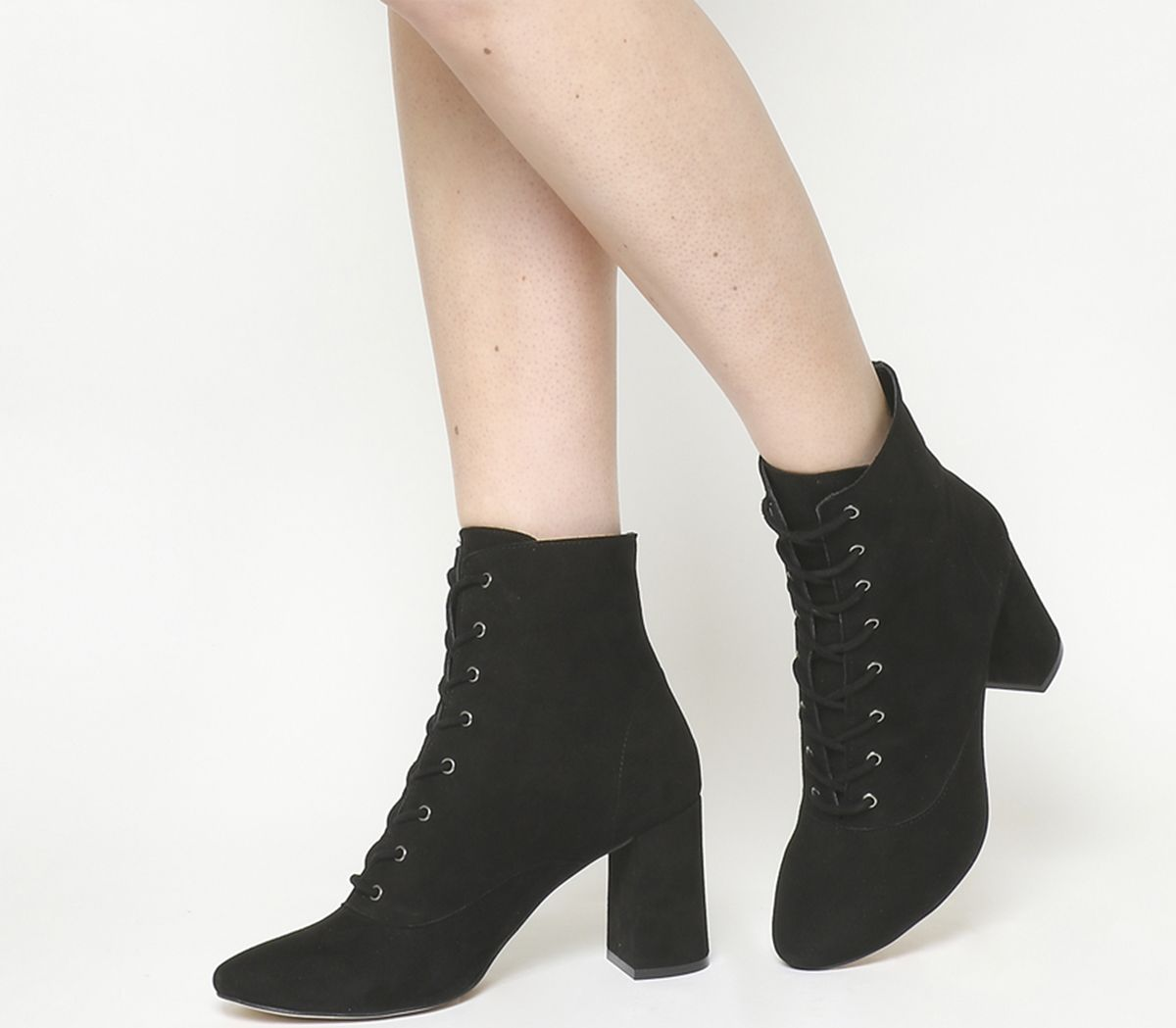 51431b017a Office Aroma Lace Up Block Heels Black Suede - Ankle Boots