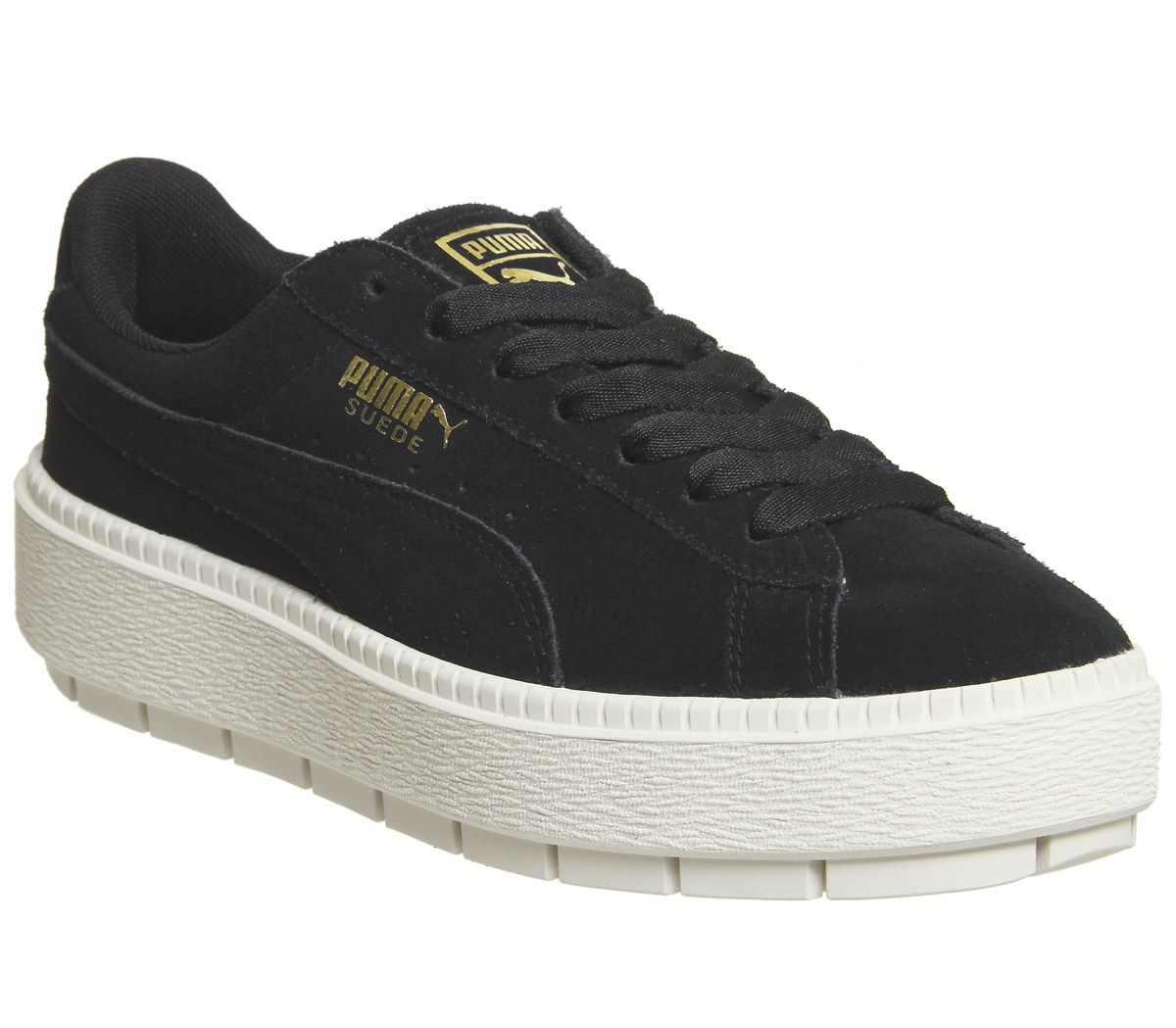 9eae328f232edb Puma Suede Platform Trace Trainers Black White - Sneaker damen