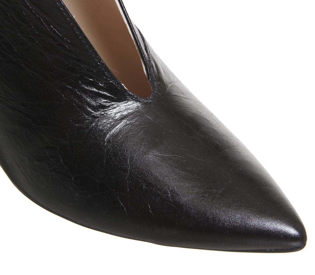 c315b9610 Office Me Too V Front Shoe Boot Black Groucho Leather - Mid Heels
