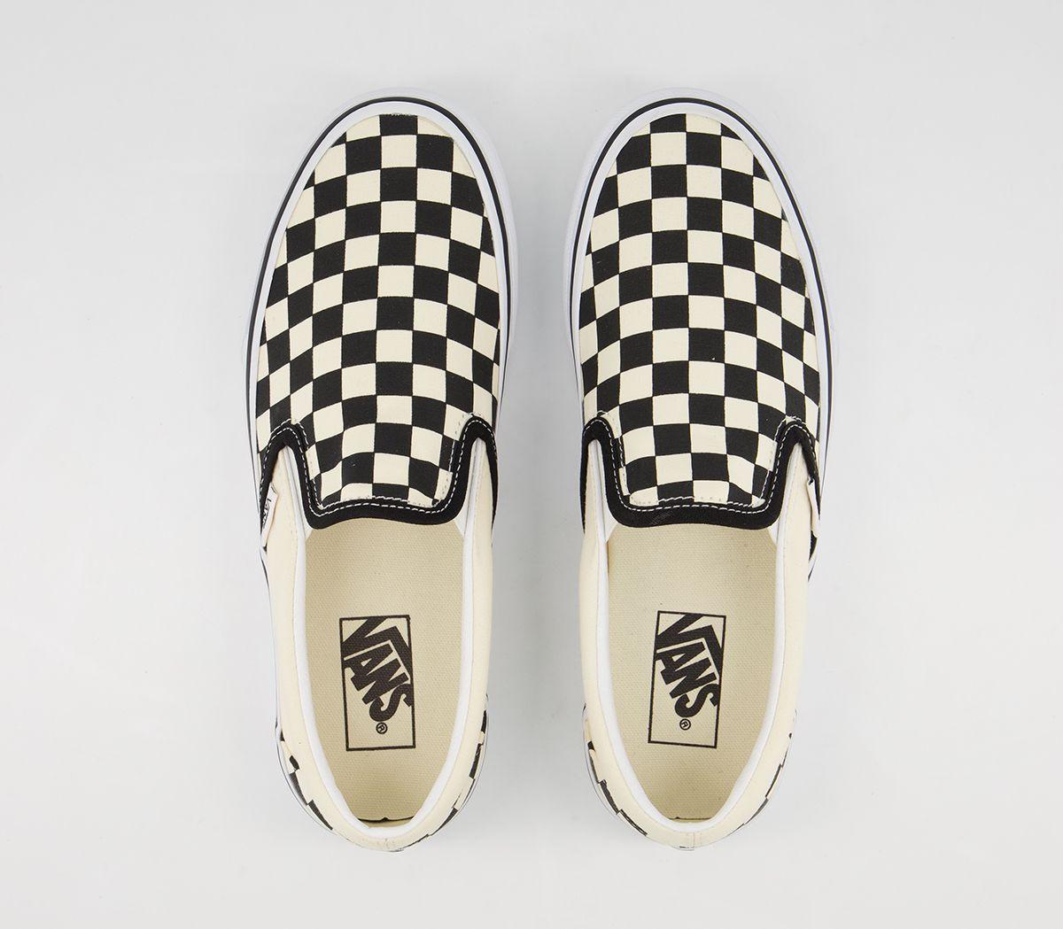 28c4a851927dbf Vans Classic Slip On Platform Trainers Black White Checker - Hers ...