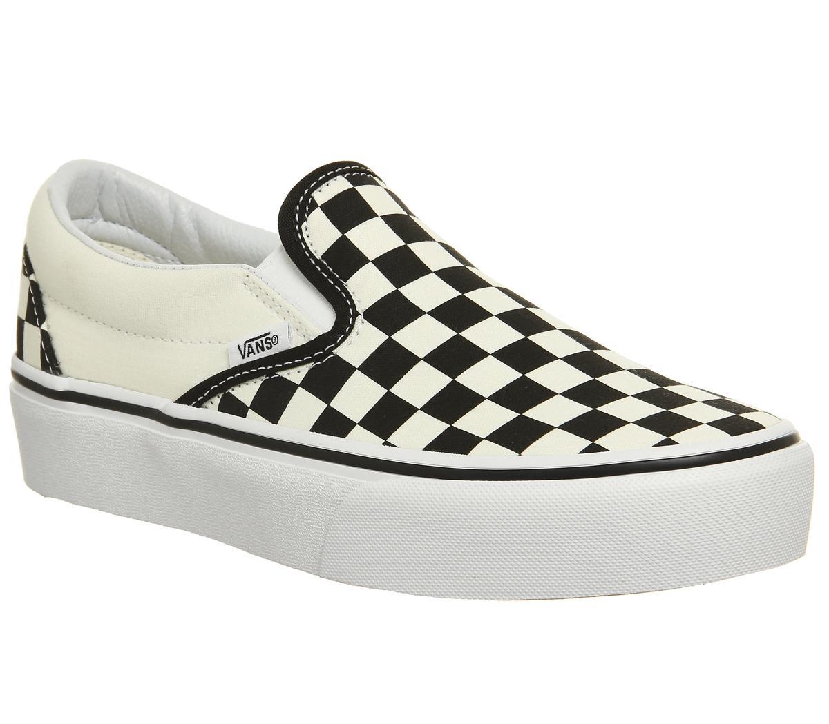 3cd275ebe8c Vans Classic Slip On Platform Trainers Black White Checker - Hers ...