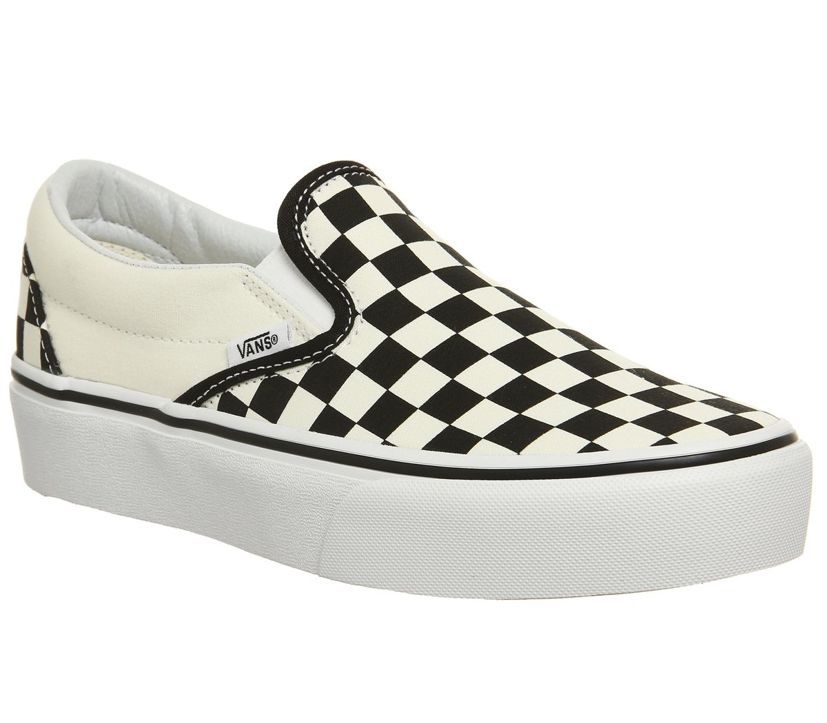 a829478b8c Vans Classic Slip On Platform Trainers Black White Checker - Hers ...