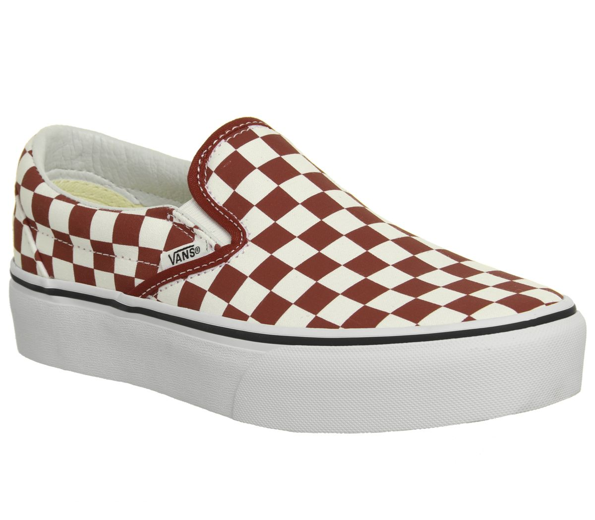 61e49d2414 Vans Classic Slip On Platform Trainers Red White Checkerboard - Hers ...