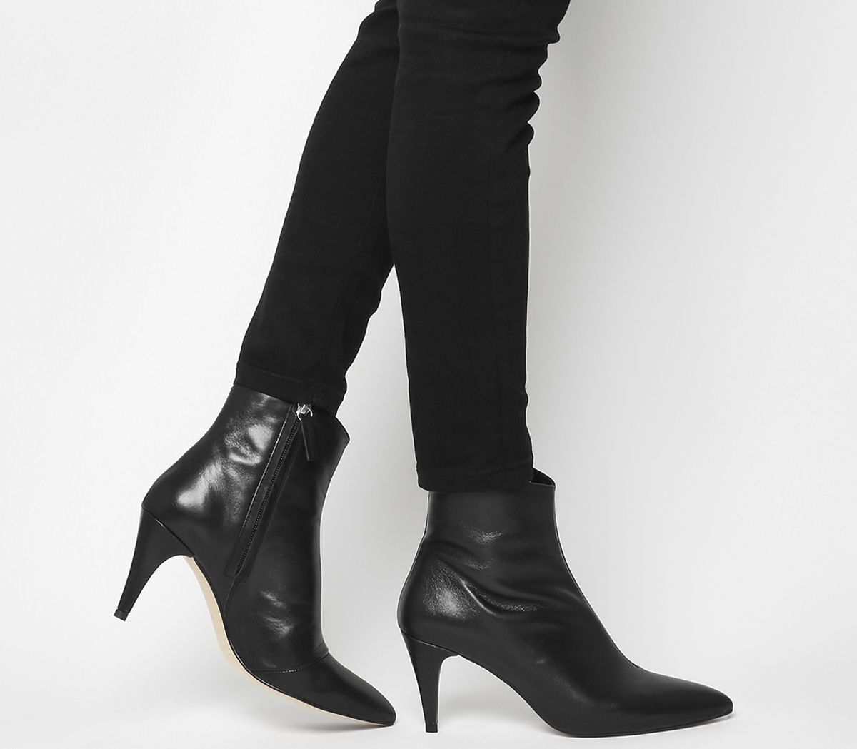 cc552f93638 Office Ab Fab Stiletto Boots Black Leather - Ankle Boots