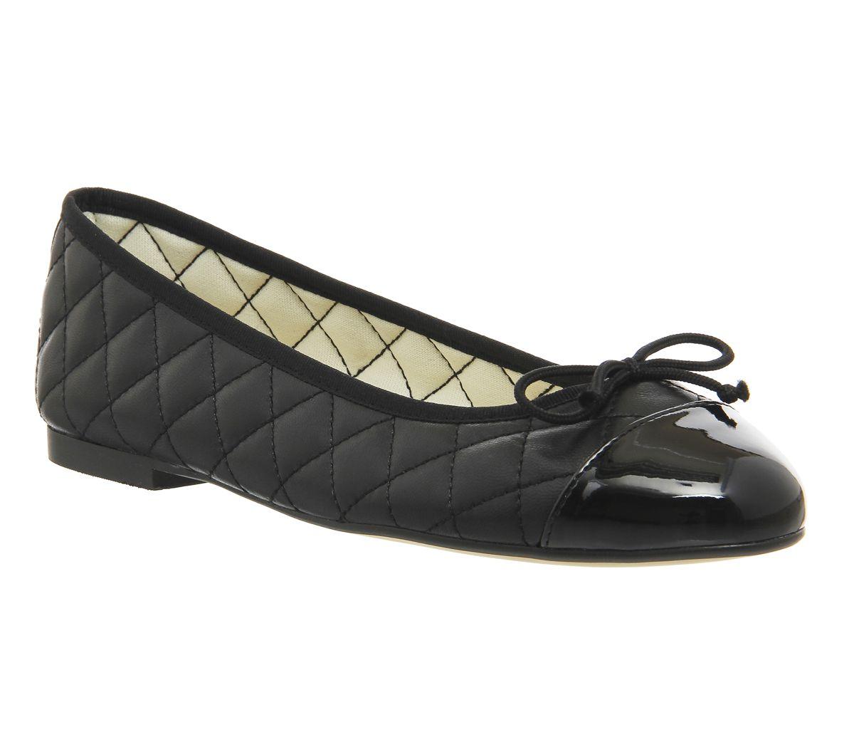 7aaf197f3a6b6 Office Cecilia Toe Cap Ballet Pumps Black Leather Patent - Flats