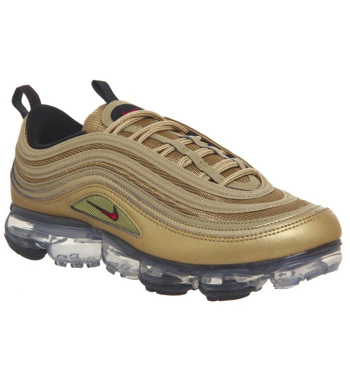sports shoes 75941 9a0ea Air Vapormax 97 Trainers  Nike Vapormax, Air Vapormax 97 Trainers, Metallic  Gold Varsity Red Black White ...