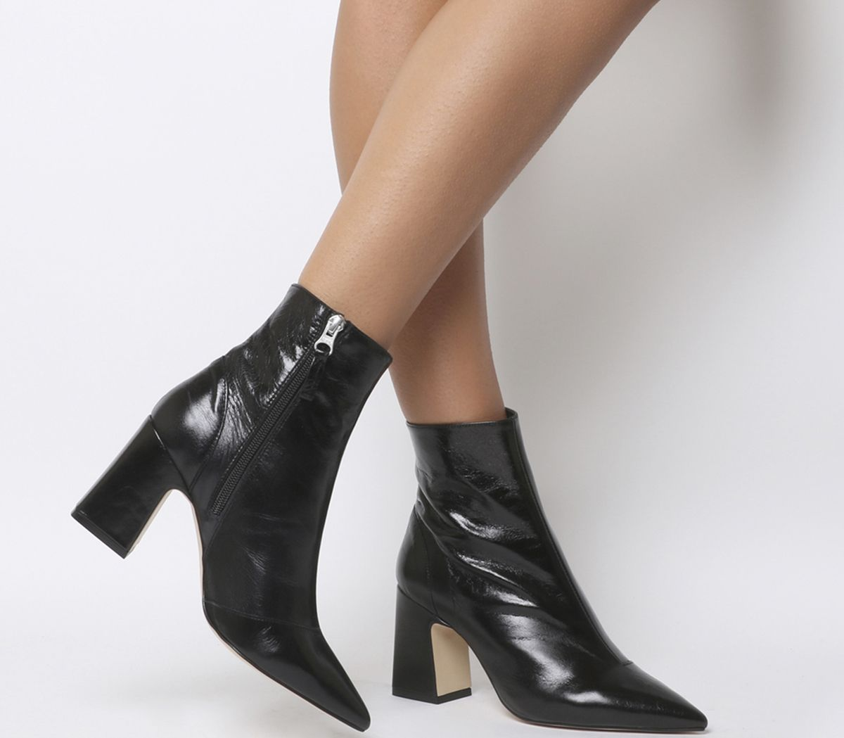 6777d4454abc Office Alto Pointed Block Heels Black Leather - Ankle Boots