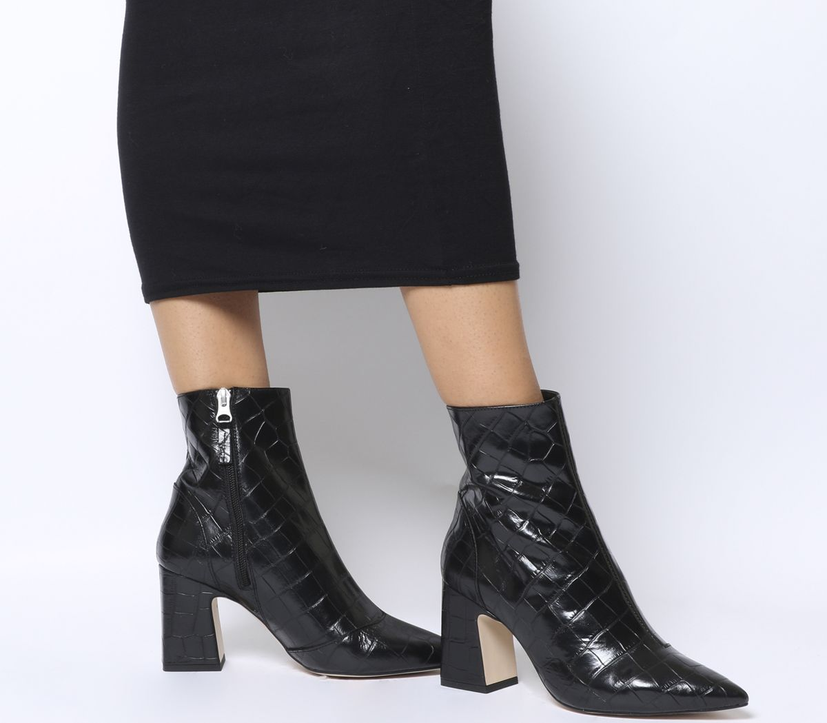 7f10dd89b471 Office Alto Pointed Block Heels Black Croc Leather - Ankle Boots