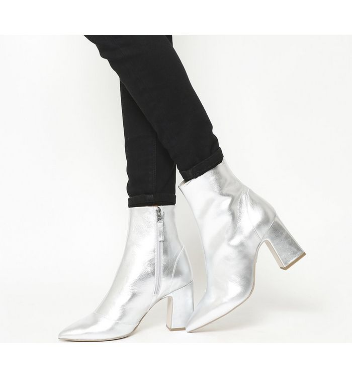 Office Alto- Pointed Block Heel Shape SILVER LEATHER