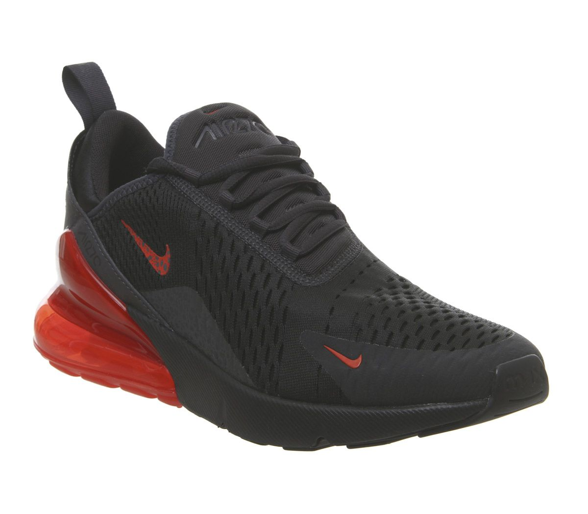 reputable site cf026 f3ae1 Nike Air Max 270 Trainers Off Noir Habernero Red Thunder Grey - His ...