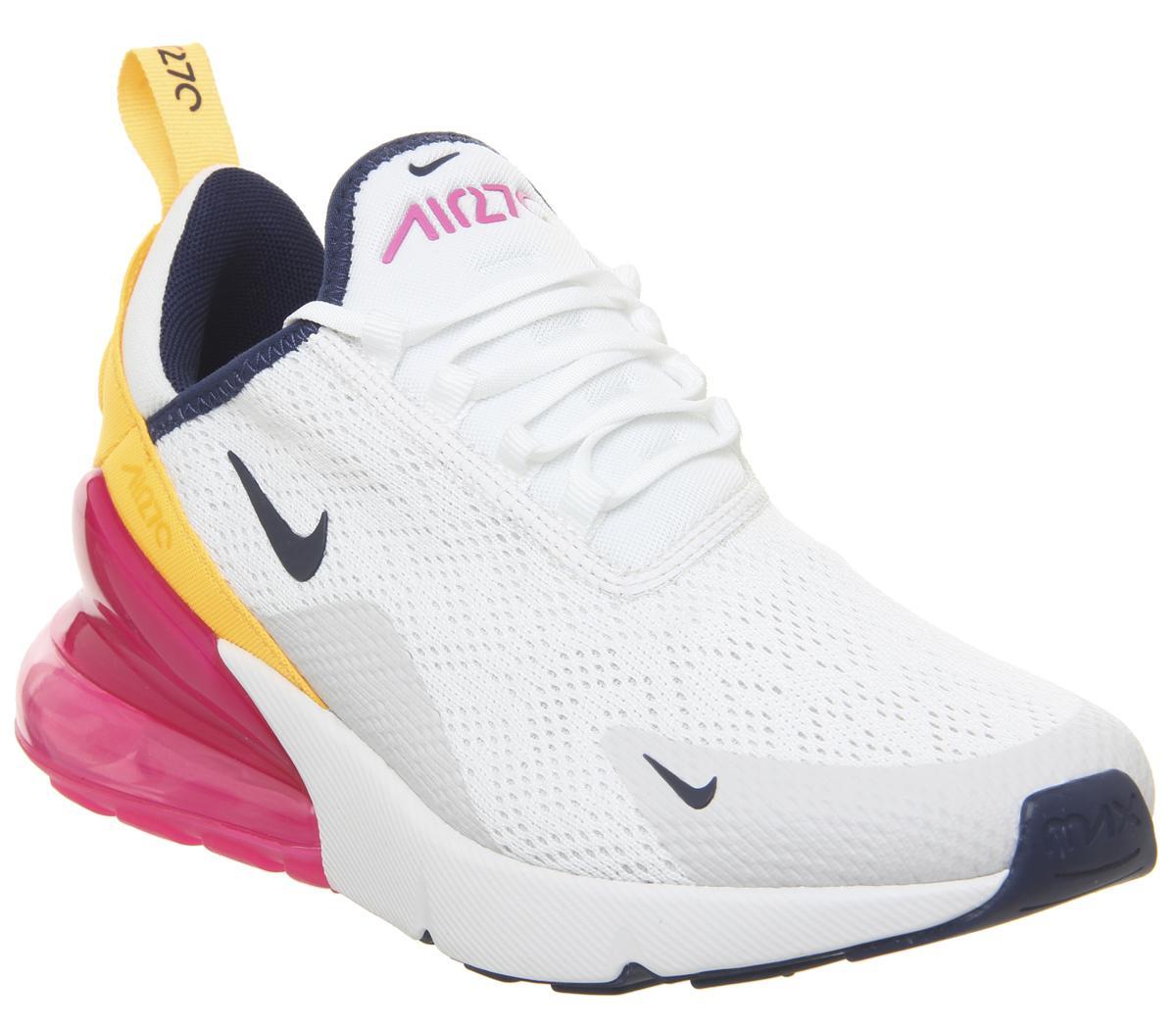 Women's Nike Air Max 270 Shoes Summit WhiteMidnight Navy