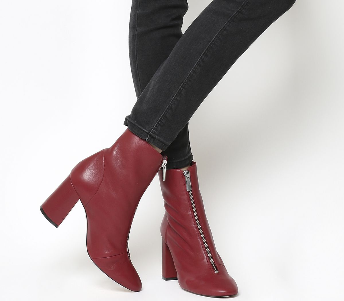 1941ec1961f9 Office All Sorts Front Zip Boots Dark Red Leather - Ankle Boots