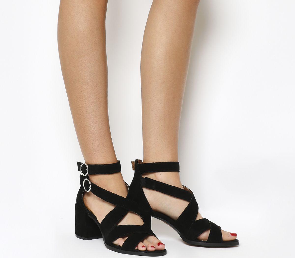 c98759d2ba0 Office Market Cuff Block Heel Sandals Black Suede - Mid Heels