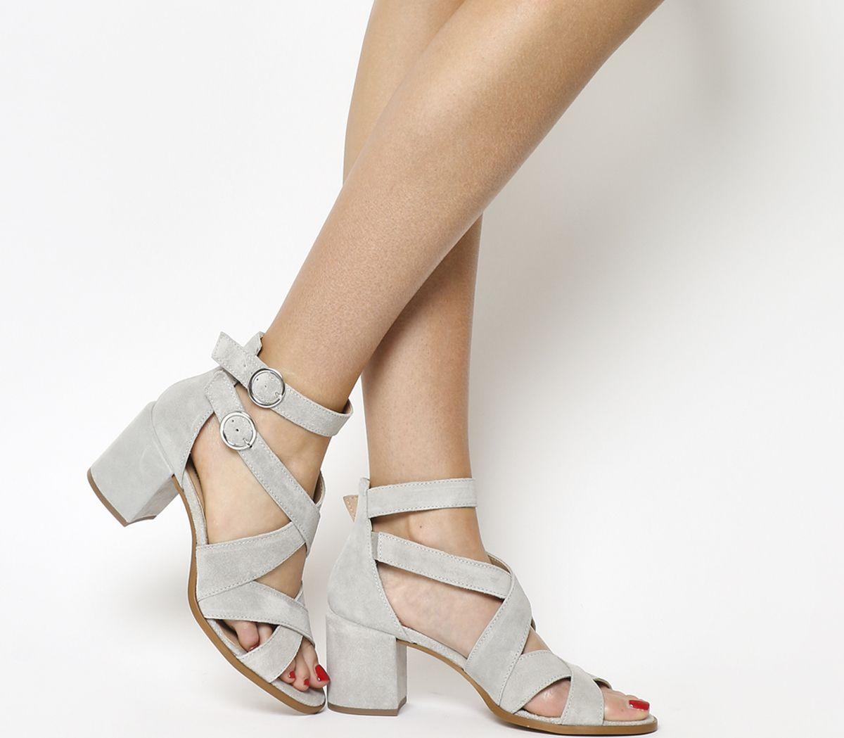 ca6ca96715 Office Market Cuff Block Heel Sandals Grey Suede - Mid Heels