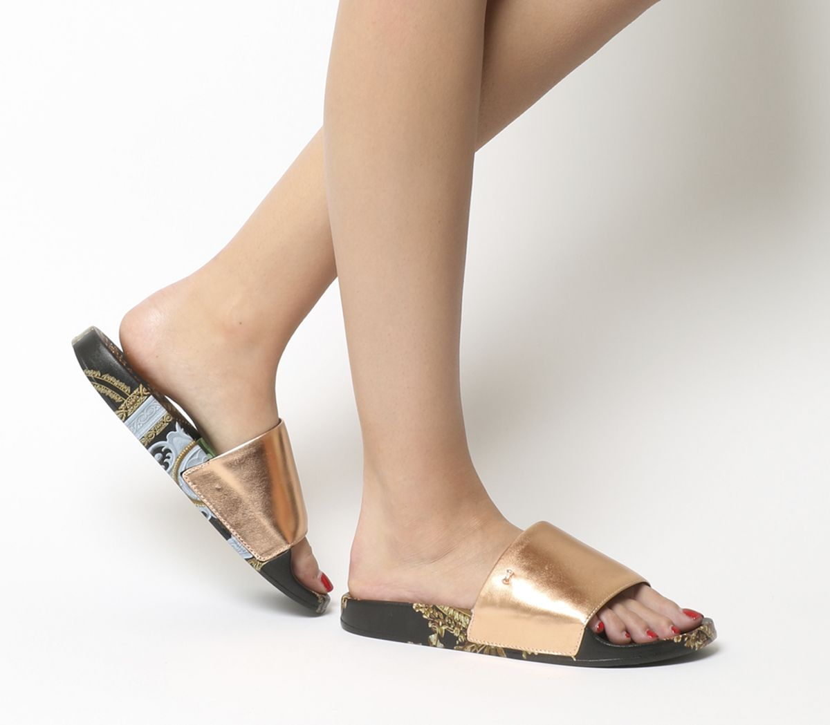 47b11710b775 Ted Baker Aveline Slides Black Versailles - Sandals