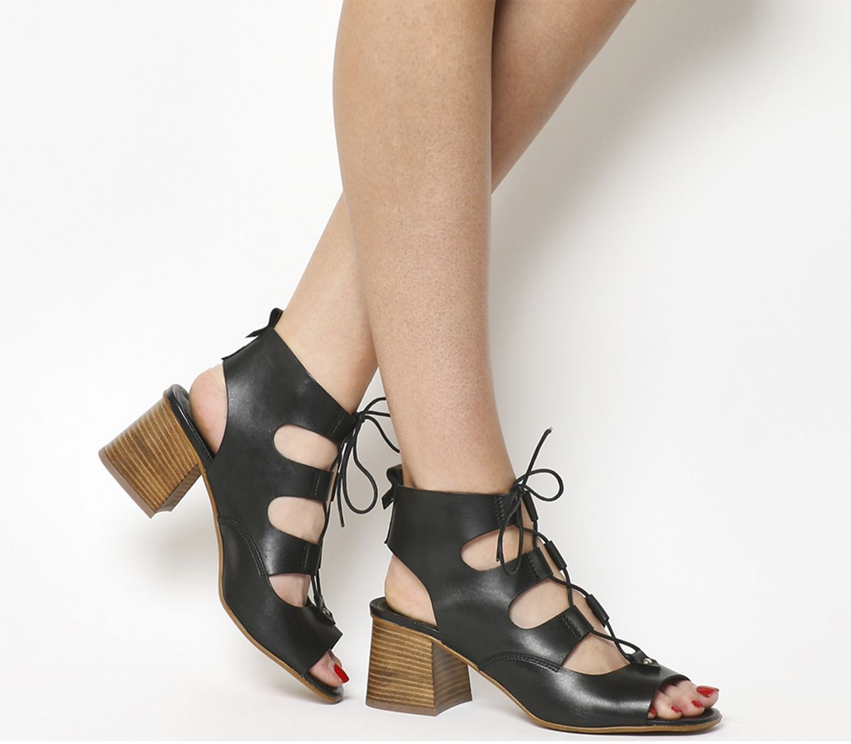 a69924af4b5 Office Mallorca Ghillie Block Heels Black Leather - Mid Heels
