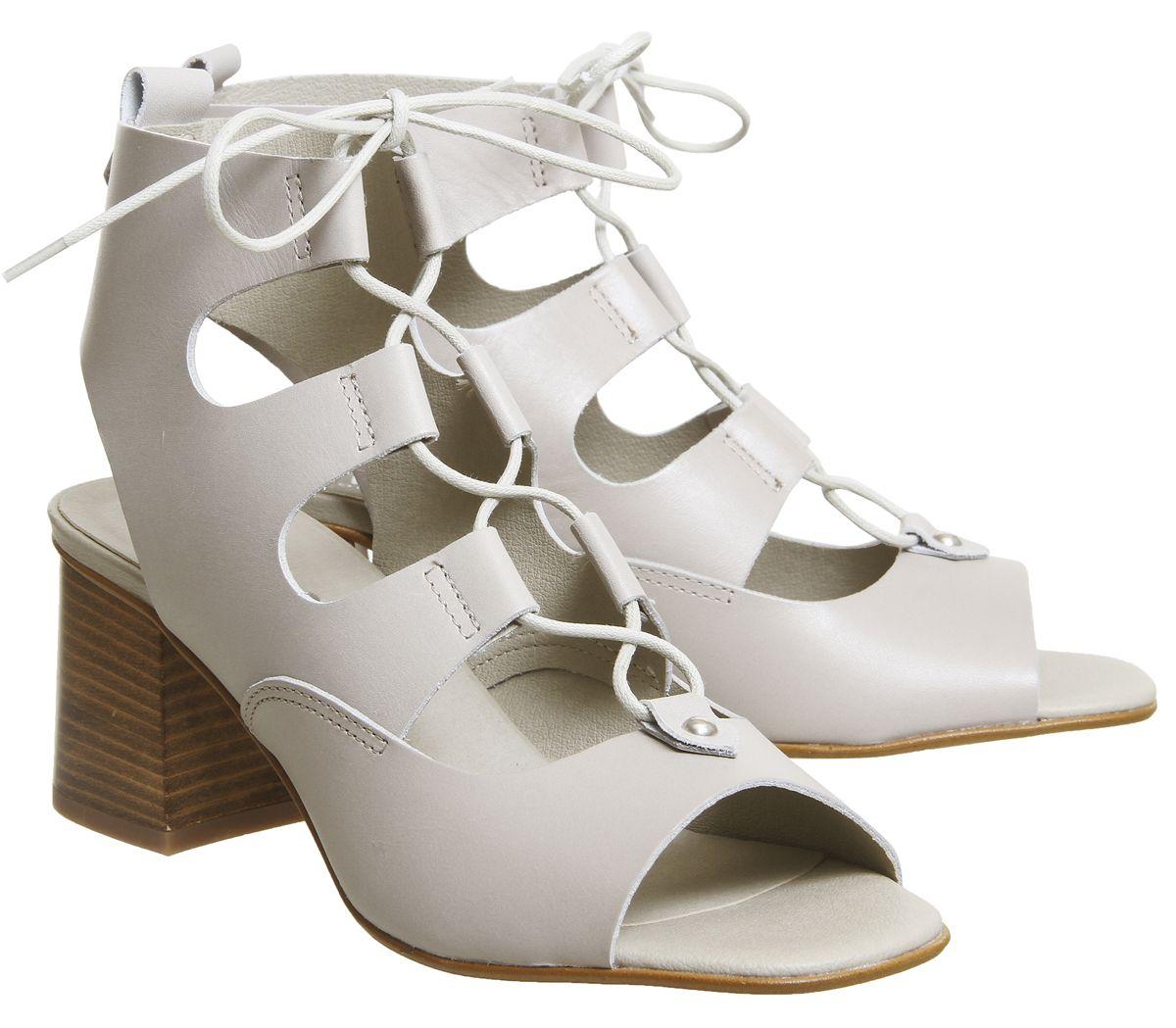 8b281909e61 Office Mallorca Ghillie Block Heels Grey Leather - Mid Heels