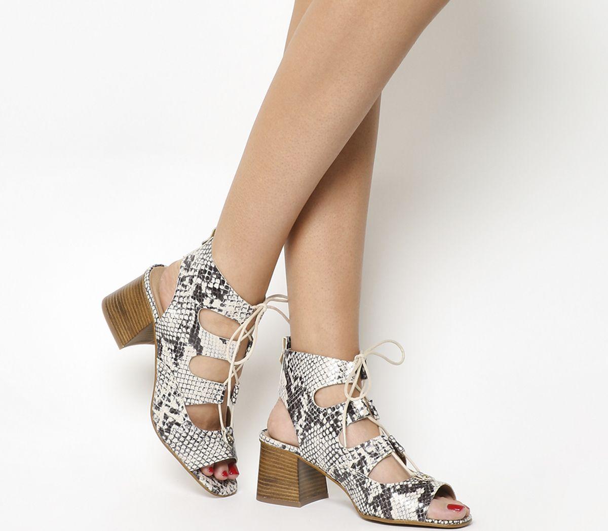 28f4d4b4923 Office Mallorca Ghillie Block Heels Natural Snake - Mid Heels