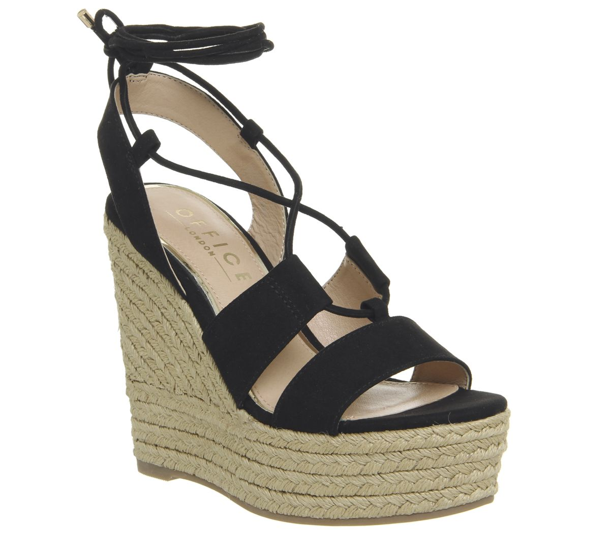 366e70e8753 Office Hula Hula Ghillie Espadrille Wedges Black - Sandals