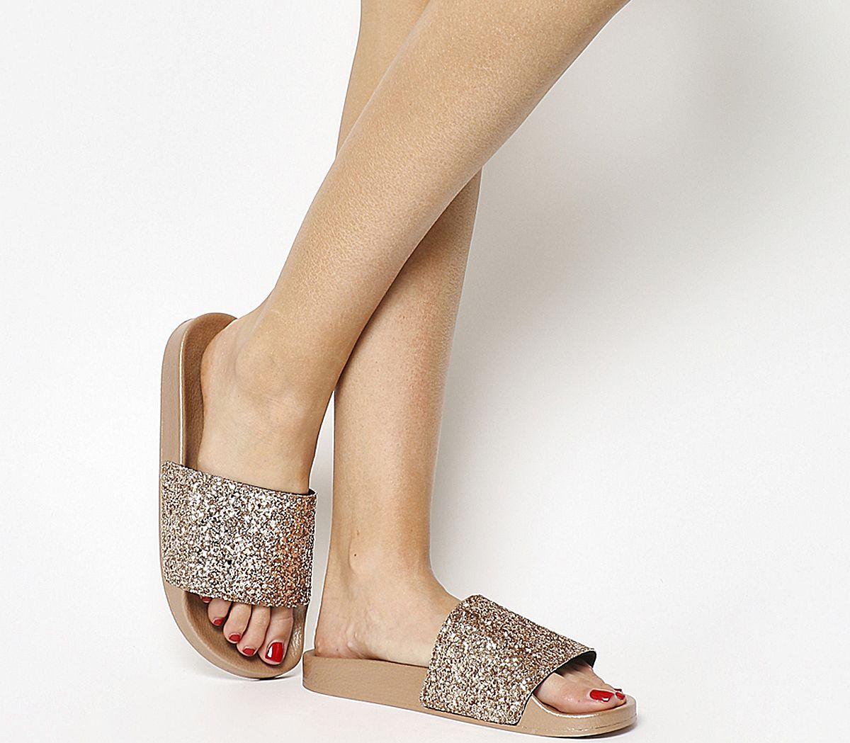 1edf276bf74e Office Spandangle Glitter Pool Slides Rose Gold Glitter - Sandals