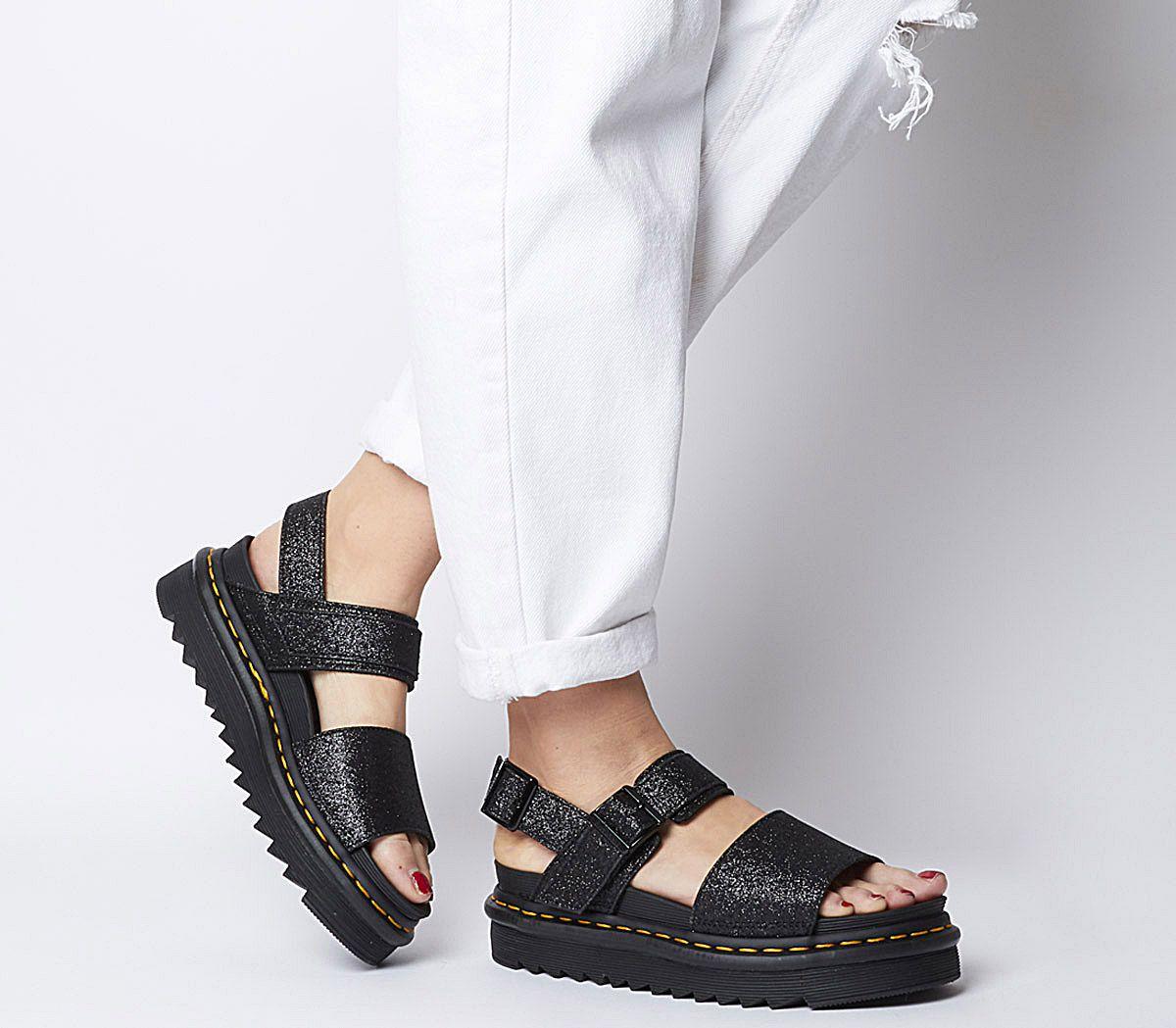 5ad2aced531 Dr. Martens Voss Sandals Black Fine Glitter - Sandals