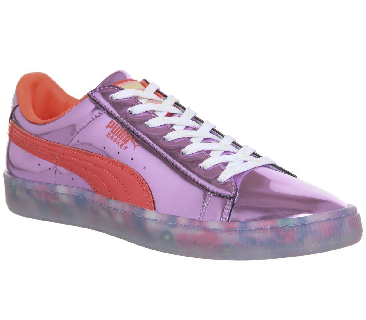 lowest price 5d7d2 169b6 Puma Basket Candy Princess Trainers Sw Metallic Pink Firey ...