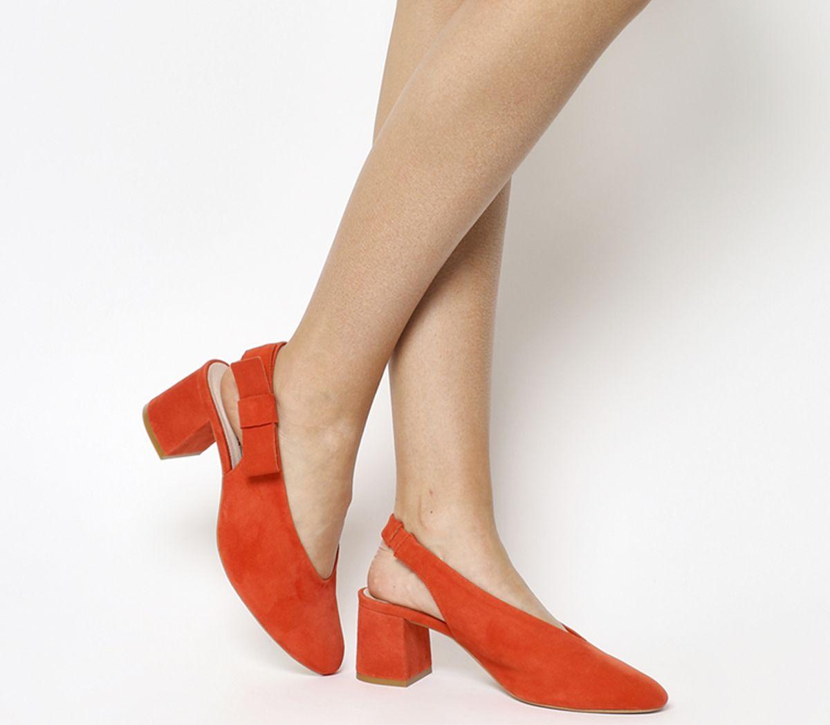 9054ecea693 Office Magical Bow Slingback Heels Red Suede - Mid Heels