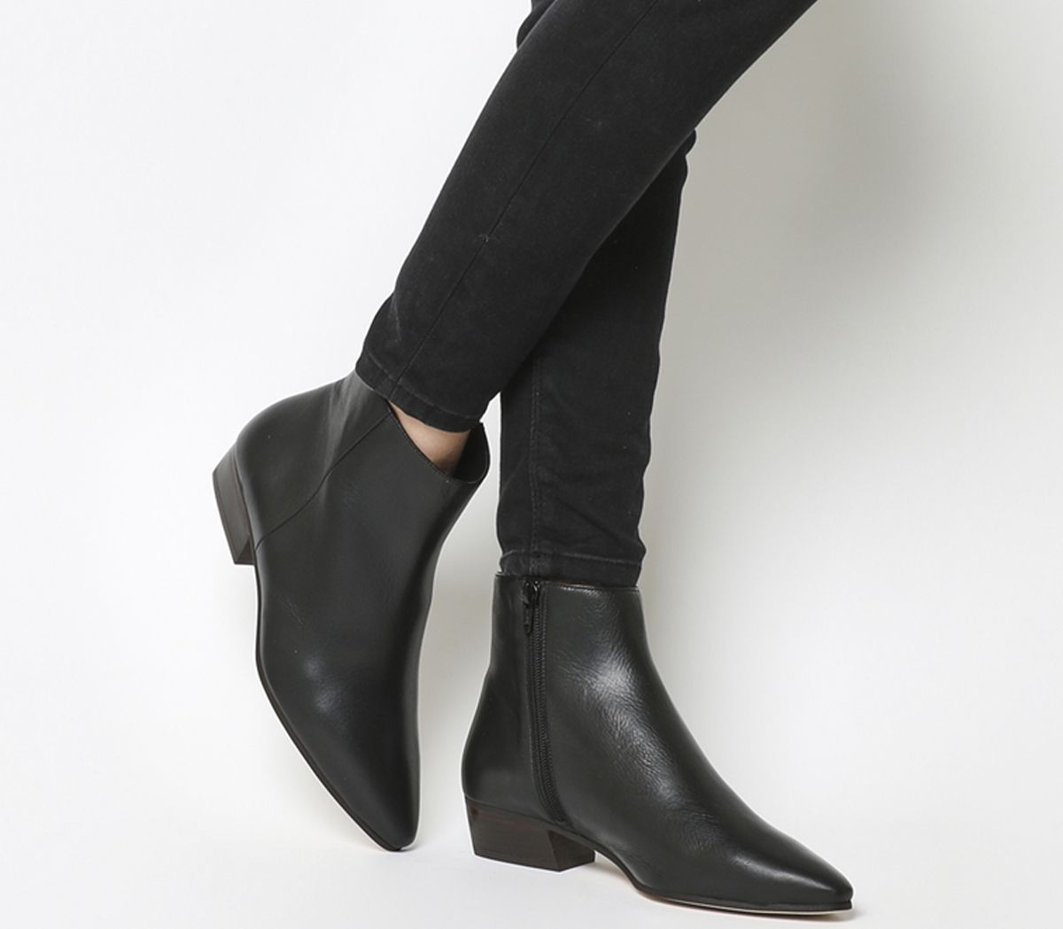 ca598a9e6208 Office Andalucia Casual Low Heel Boots Black Leather - Ankle Boots