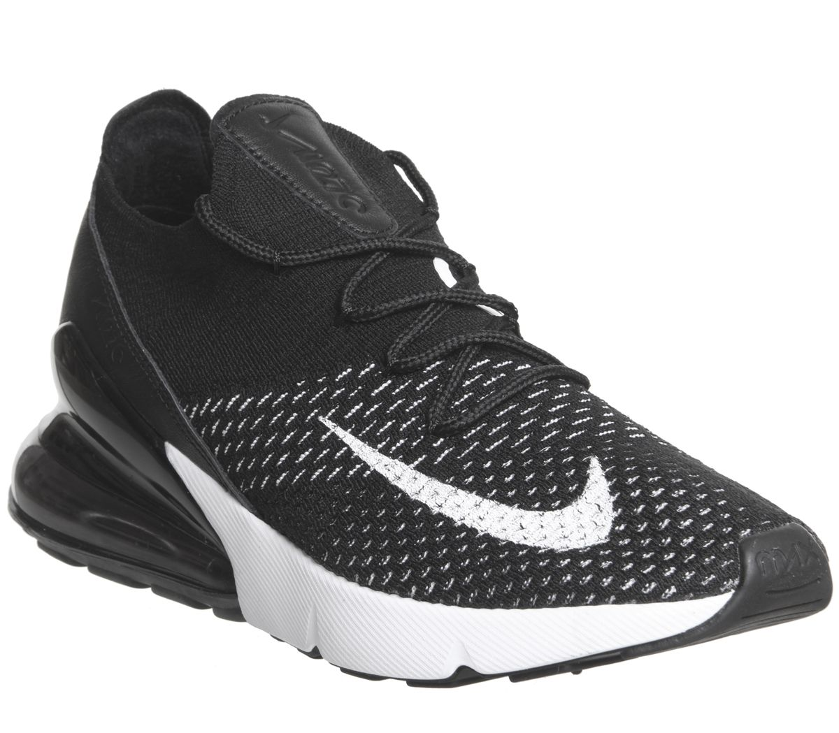 classic fit a1870 b1b31 Nike Air Max 270 Flyknit Trainers Black White F - Hers trainers