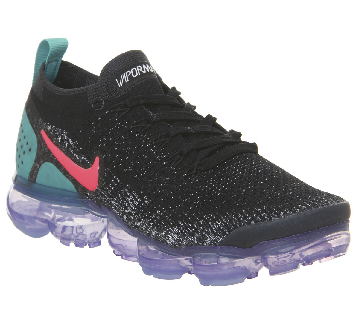 7702c1523c273 Nike Air Vapormax Flyknit 2 Trainers Black Hot Punch White Dusty ...