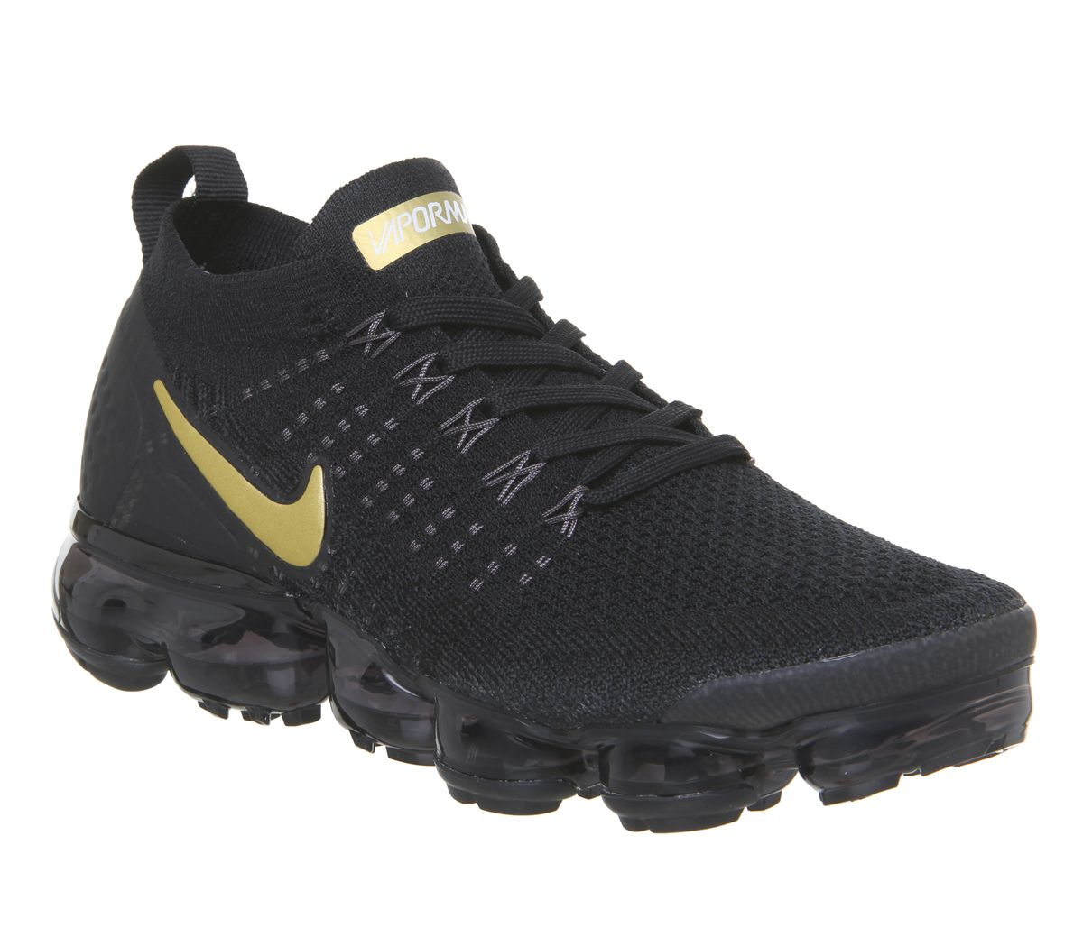5bacb1defa51f Nike Air Vapormax Flyknit 2 Trainers Black Metallic Gold Metallic ...