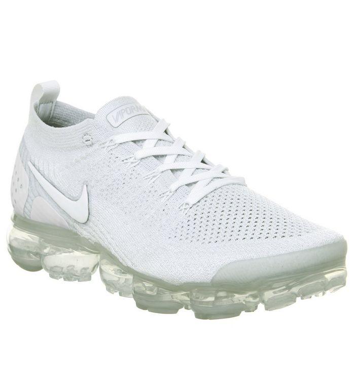 big sale 0b201 53cb1 ... Nike Vapormax, Air Vapormax Flyknit 2 Trainers, White Pure Platinum  Metallic Silver ...