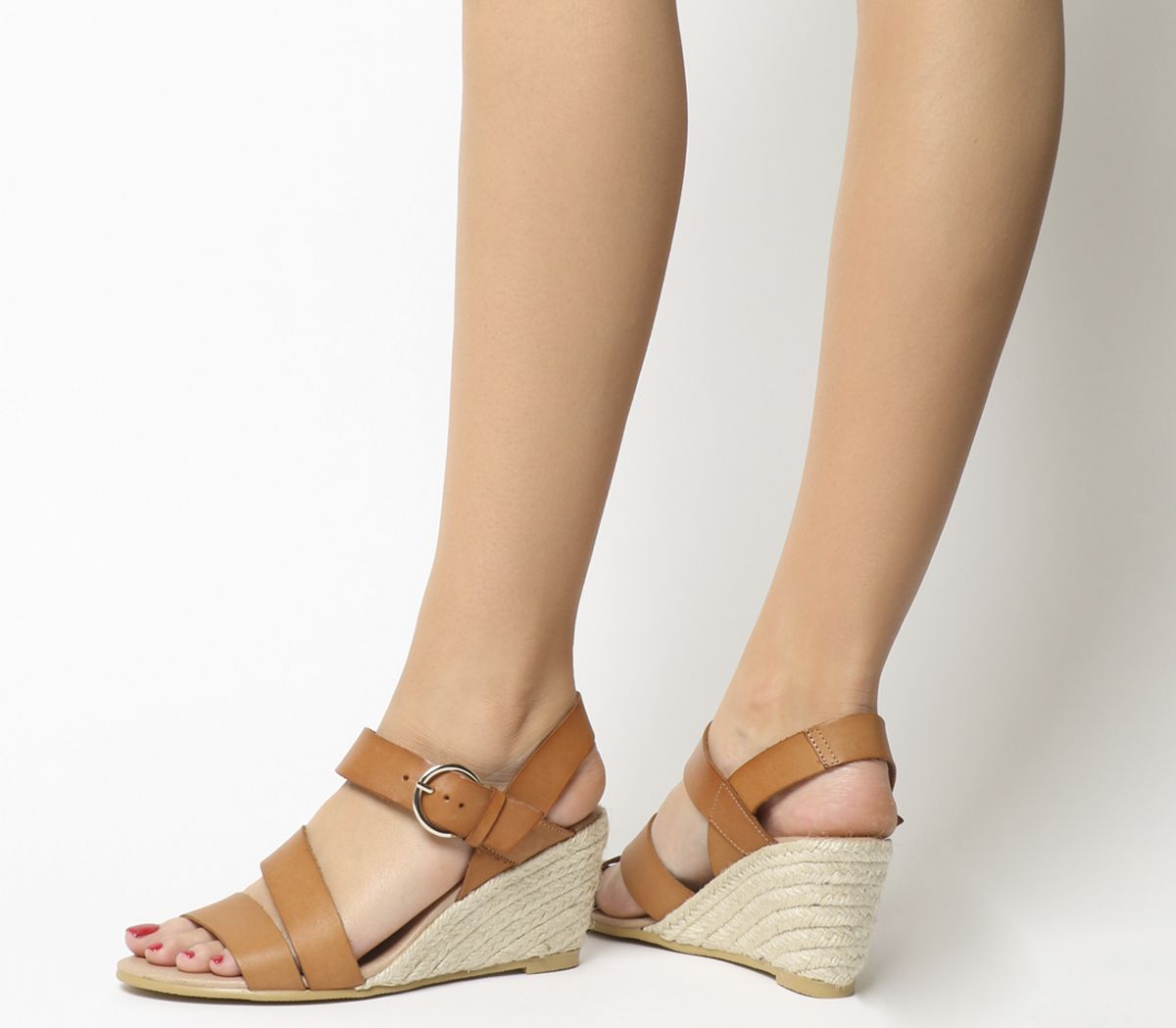 dde0f732a Office Mangoes Espadrille Wedges Tan Leather - Mid Heels
