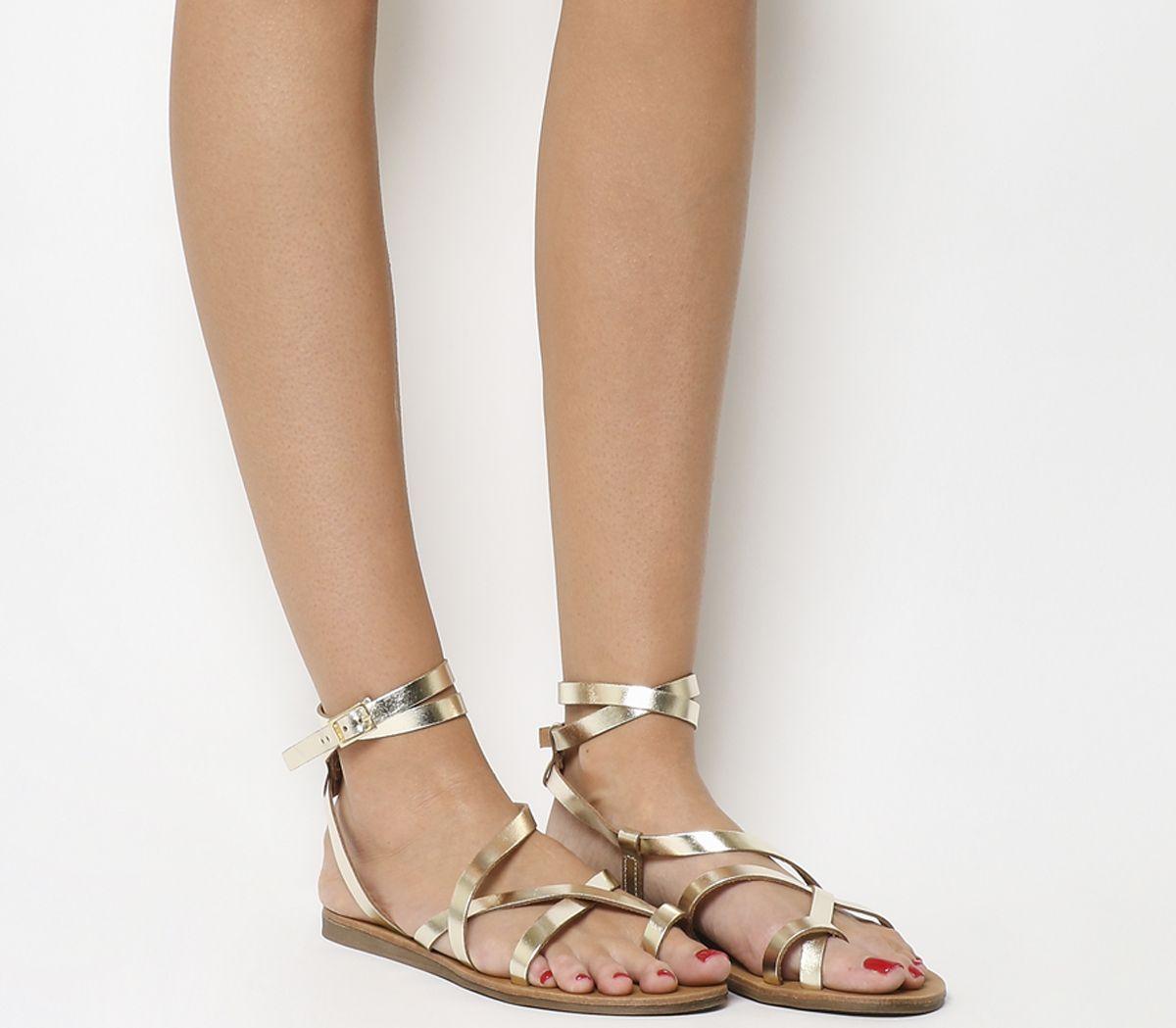 c9597413a Office Salvador Toe Loop Gladiator Sandals Gold Leather - Sandals