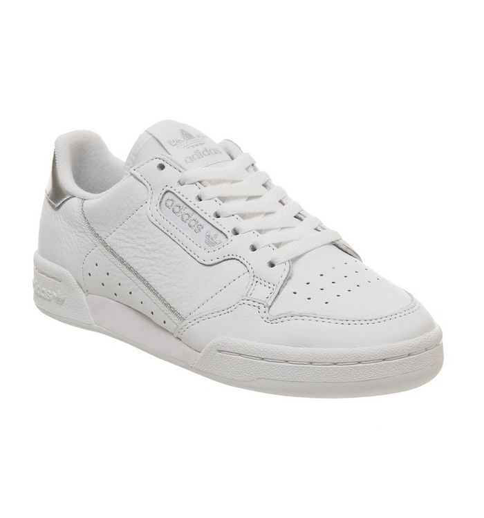 f64b180b9e76 Adidas Continental 80s Trainers White White Silver - Hers trainers