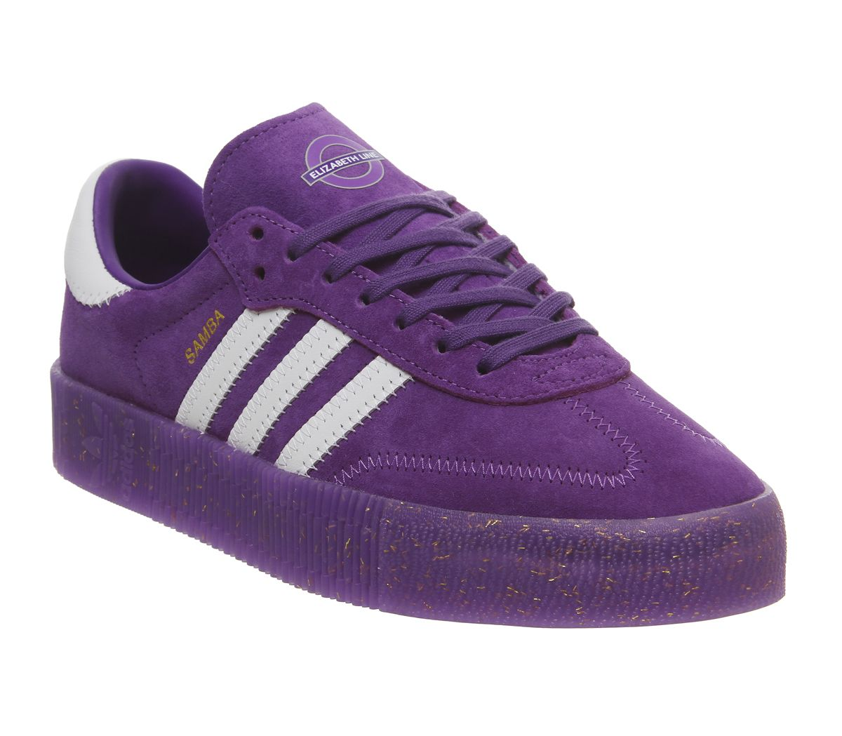 brand new 37eca bc3aa adidas Samba Rose Trainers Purple White Gold Metallic Elizabeth Tfl ...