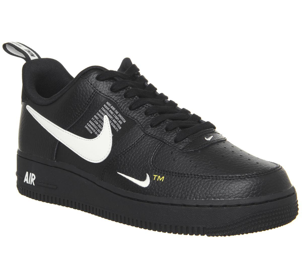 80663c1e2415de Nike Air Force 1 Utility Trainers Black White Black Tour Yellow ...