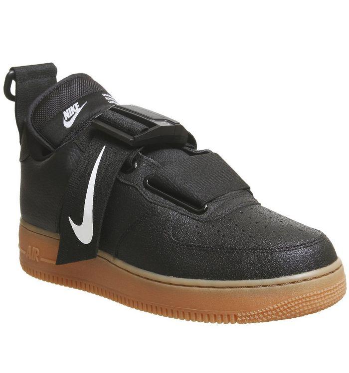 release date 04abb cbd9e ... Nike, Air Force 1 Utility Trainers, Black White Gum Medium Brown ...