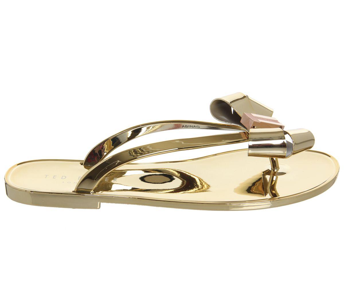 bae66adbc Ted Baker Glamari Flip Flops Gold - Hers Exclusives