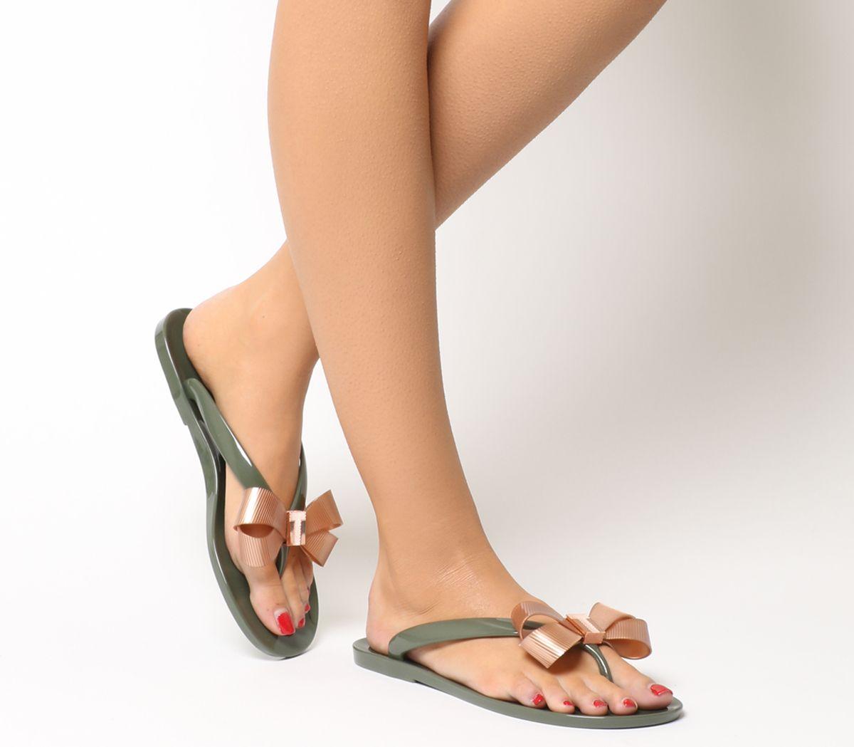 b0fd9e1eb735 Ted Baker Suszie Flip Flops Khaki Rose Gold - Sandals