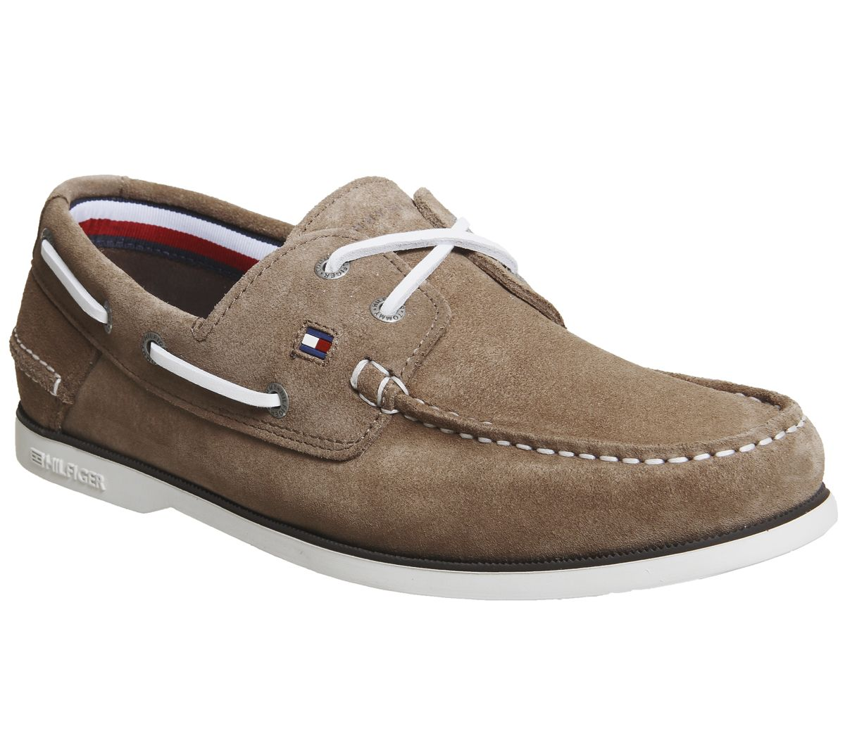 556a0114e542 Tommy Hilfiger Classic Boat Shoes Taupe Suede - His trainers