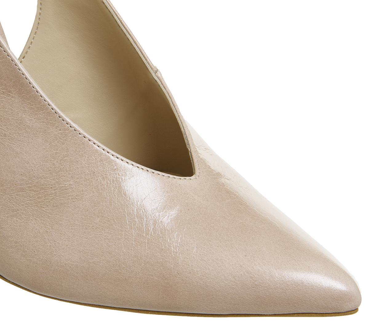 Womens Office Hix V Cut Slingback Court Heels Nude Leather Heels