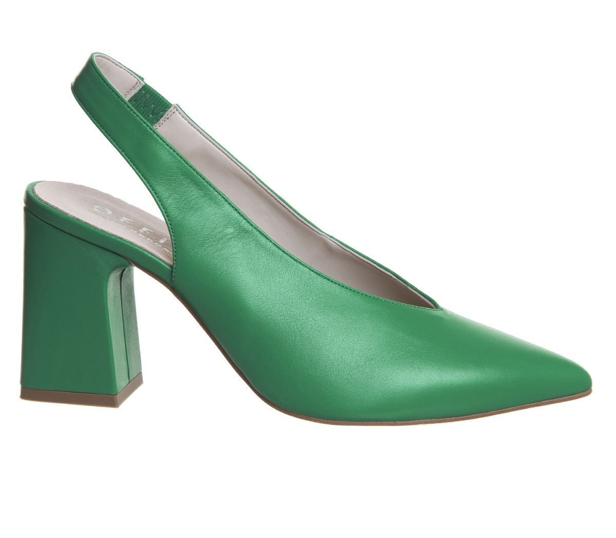 3c3a7c214c Office Mimi Chunky Slingback Heels Jade Green Leather - Mid Heels
