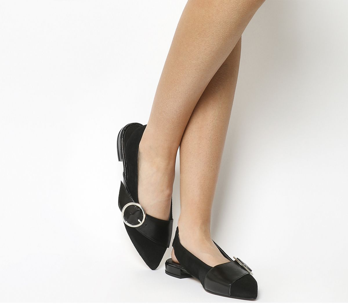 Office Fantastic Point Flats Black Leather - Flats - photo#47