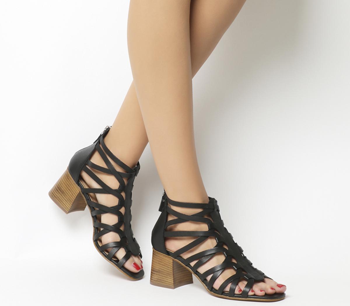 Money Interlaced Block Sandals