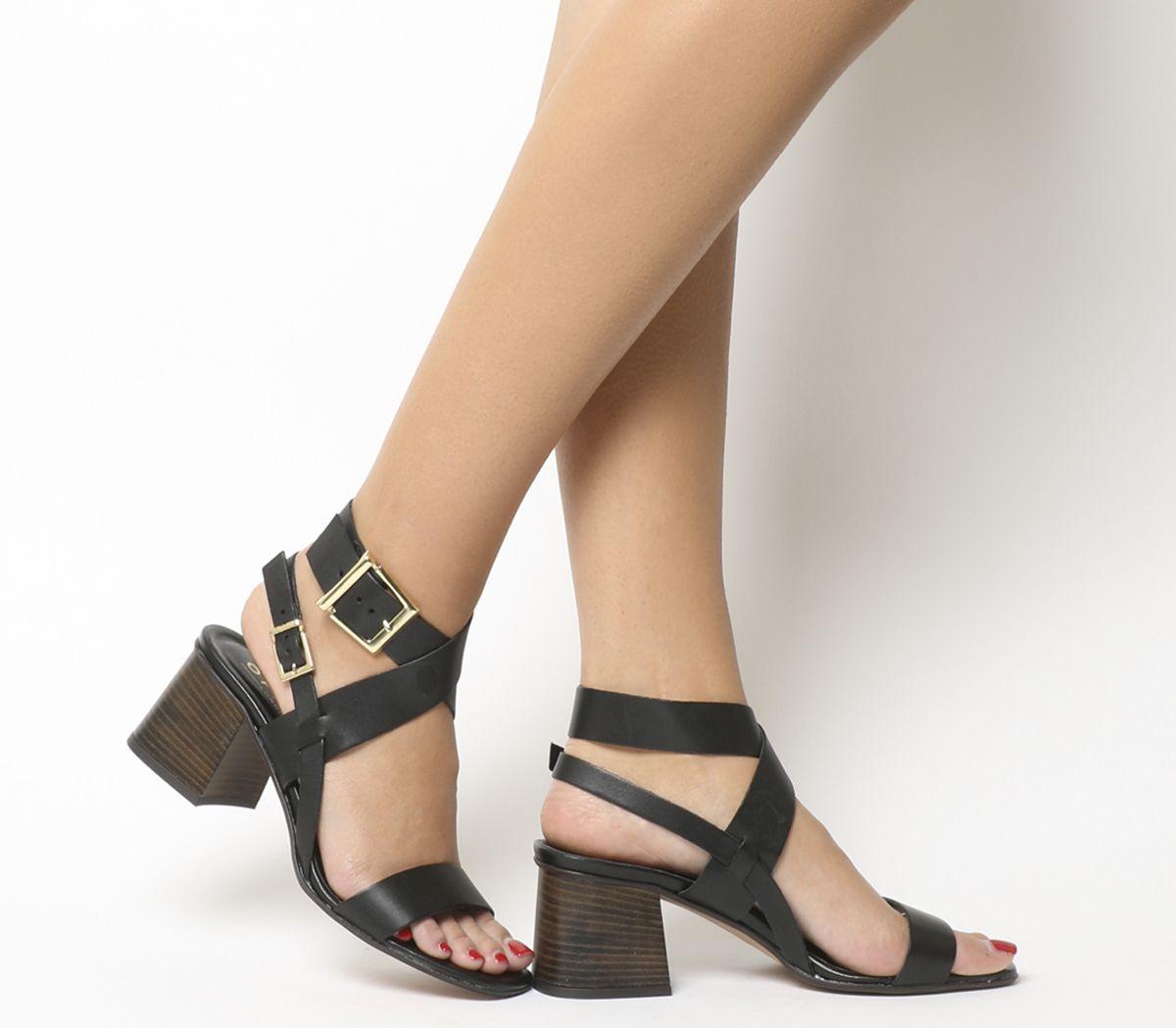 df3bf946c12 Office Marley Ankle Wrap Mid Block Heels Black Leather - Mid Heels